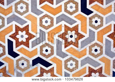 Details Of Marble Surface With Stone Inlay In Agra, India