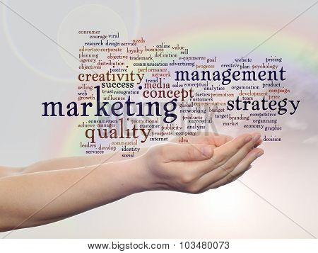 Concept or conceptual abstract business marketing word cloud or wordcloud in man or woman hand, rainbow sky background