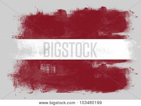 Flag Of Latvia Painted With Brush