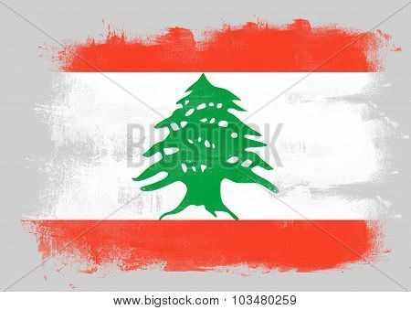Flag Of Lebanon Painted With Brush