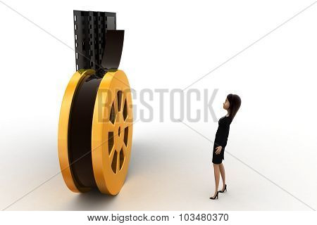 3D Woman With Film Roll And Film Concept