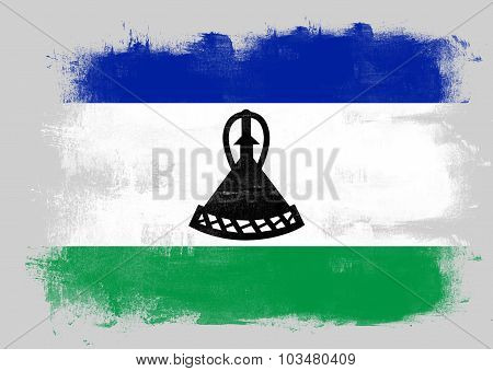 Flag Of Lesotho Painted With Brush