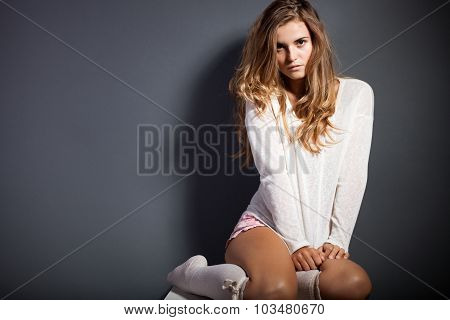 Sexy Young Woman Wearing Socks, Sensual Looking