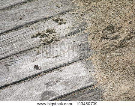 Rainy sandy boardwalk background