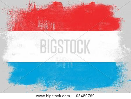 Flag Of Luxembourg Painted With Brush