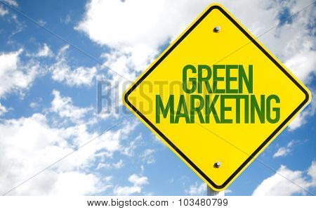 Green Marketing sign with sky background