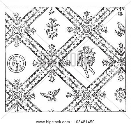 Wall decoration after an ancient painting, vintage engraving.