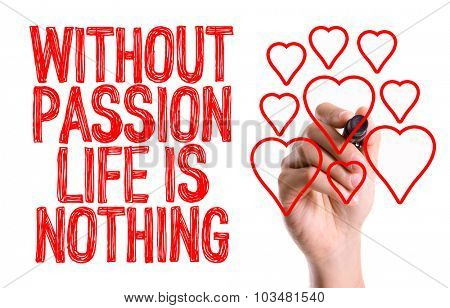 Hand with marker writing: Without Passion Life is Nothing