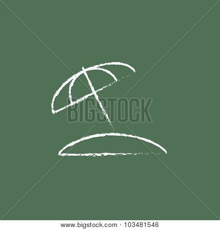 Beach umbrella hand drawn in chalk on a blackboard vector white icon isolated on a green background.