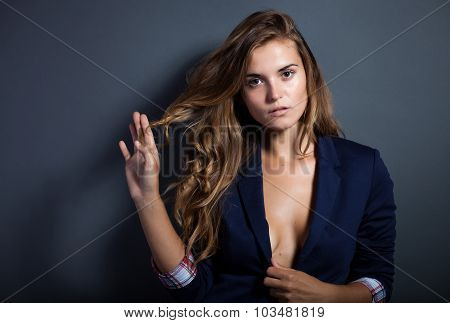Sexy Woman Without Bra In Jacket