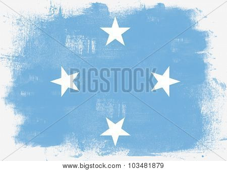 Flag Of Micronesia Painted With Brush