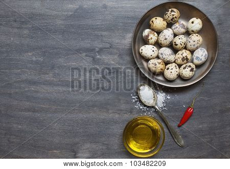 Plate With Quail Eggs, Salt, Olive Oil And Pepper