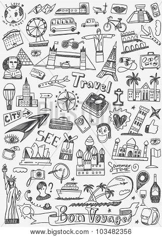 Travel Landmarks Doodles