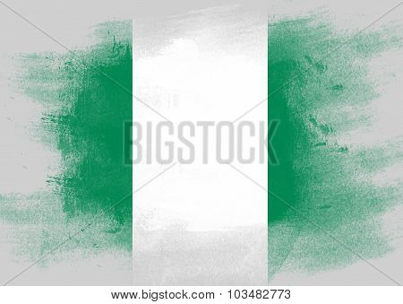 Flag Of Nigeria Painted With Brush