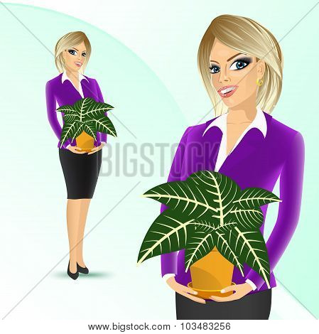 business woman holding sanchezia