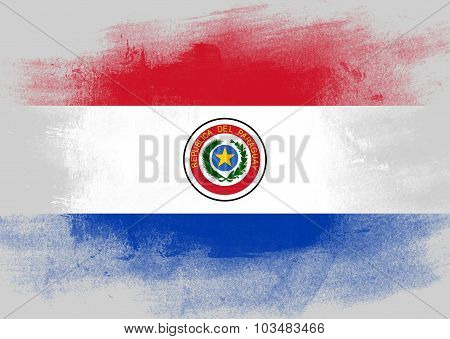 Flag Of Paraguay Painted With Brush