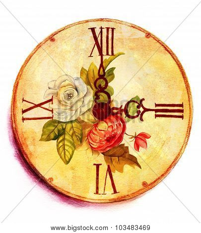 A grunge watercolor drawing of a vintage clock with roses on white background