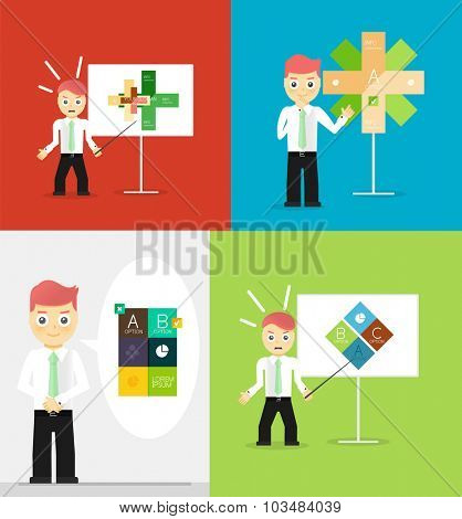 Young businessman presents his modern option infographic diagram. Set of illustrations. flat design