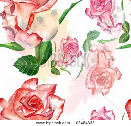 Vintage-styled watercolour rose seamless background pattern