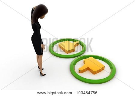 3D Woman Confused About Like Dislike Concept