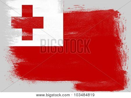 Flag Of Tonga Painted With Brush