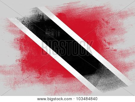Flag Of Trinidad And Tobago Painted With Brush