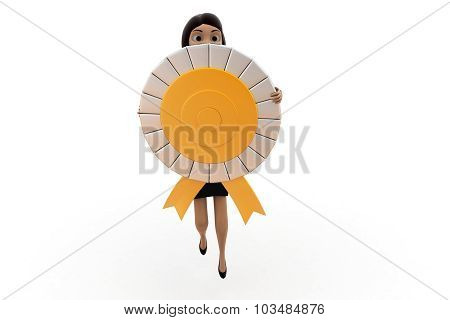 3D Woman With Ribbon Medal Concept