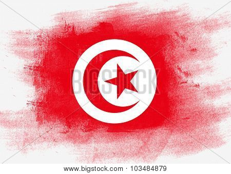 Flag Of Tunisia Painted With Brush
