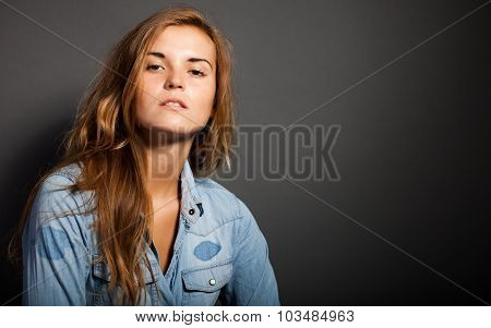 Portrait Of Natural Woman In Denim Jeans Shirt