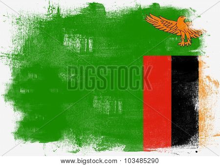 Flag Of Zambia Painted With Brush
