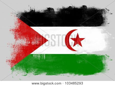 Flag Of Western Sahara Painted With Brush
