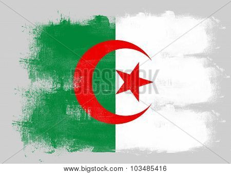 Flag Of Algeria Painted With Brush
