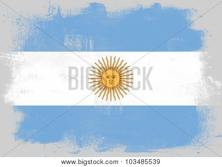 Flag Of Argentina Painted With Brush