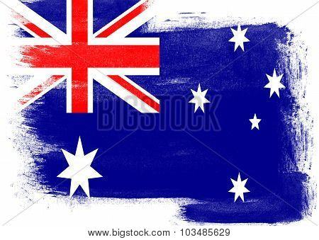 Flag Of Australia Painted With Brush