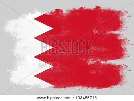 Flag Of Bahrain Painted With Brush