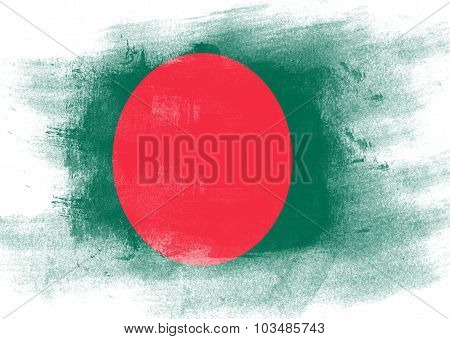 Flag Of Bangladesh Painted With Brush