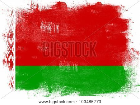 Flag Of Belarus Painted With Brush
