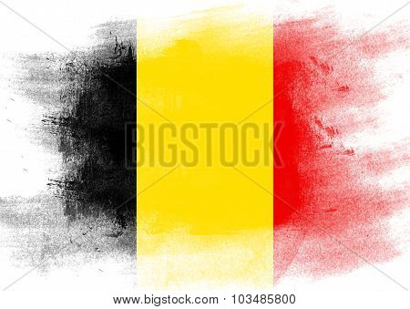 Flag Of Belgium Painted With Brush