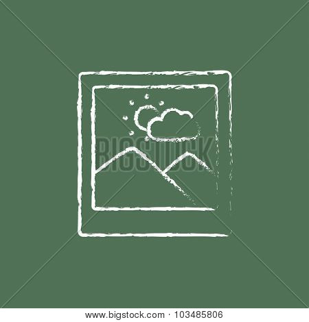 Picture hand drawn in chalk on a blackboard vector white icon isolated on a green background.