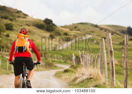 Mountain biker riding on bike in summer mountains landscape. Man cycling MTB on rural country road.
