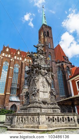 Monument Of St John Of Nepomuk And The Church Of St Bartholomew
