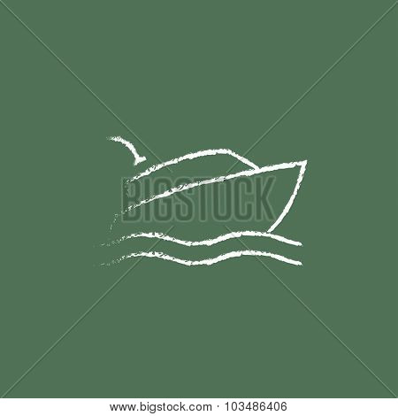 Cruise ship hand drawn in chalk on a blackboard vector white icon isolated on a green background.