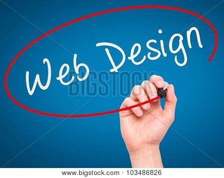 Man Hand writing Web Design with marker on transparent wipe board.