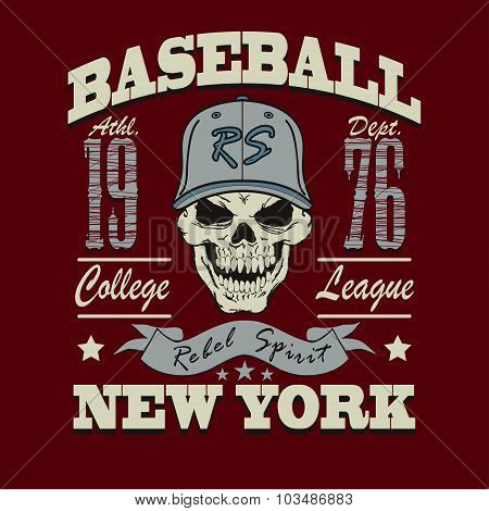 baseball skull t-shirt graphic design