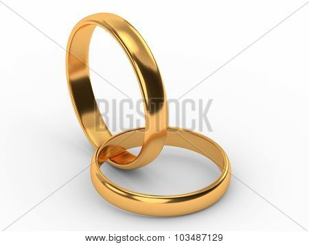 Connected Gold Wedding Rings Isolated On White