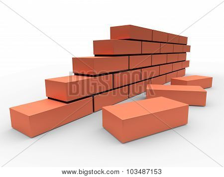 Part Of Brick Wall Isolated On White