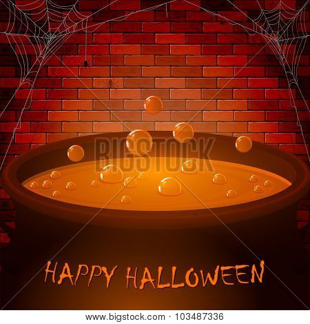 Brick Wall And Halloween Cauldron