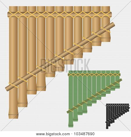 Pan flute, bamboo wind musical instrument