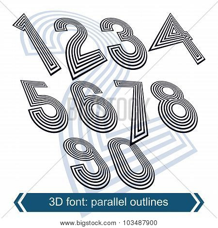 Dimensional Move Numbers, Vector Line Retro Style Geometric Font, 2