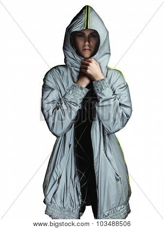 Woman Wearing A Silver Futuristic Parka Isolated On White
